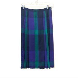 VTG Jones new york plaid pleated wool midi skirt